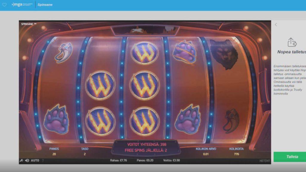 nopeampi casino spinsane