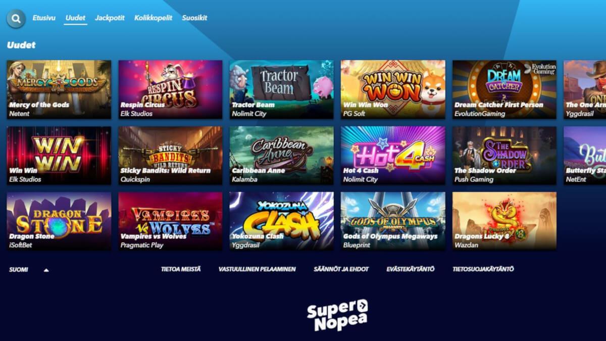 supernopea casino kokemuksia pelit