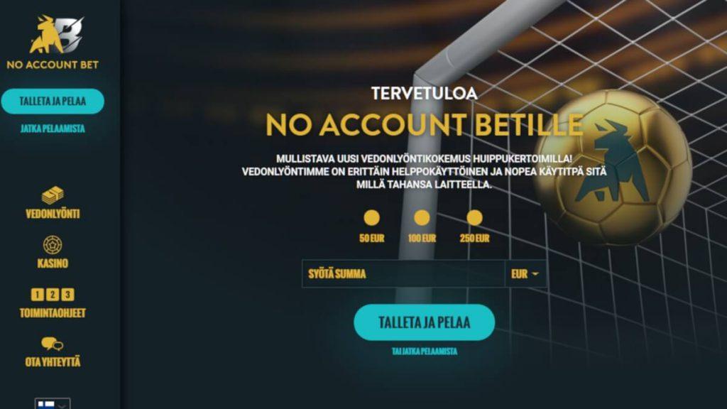 no account bet ilman tiliä
